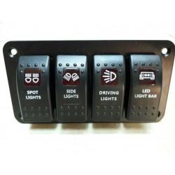 Rocker Switch - Aydınlatma Düğme Paneli 4'lü SP-019 YEŞİL