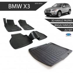Bmw X3 3D Havuz Paspas + 3D Bagaj Havuzu 2li Set Siyah 2010-2014