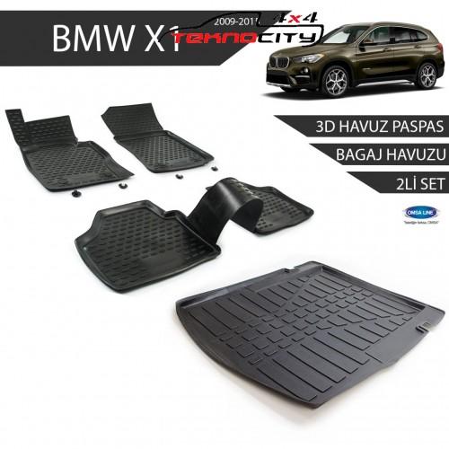 Bmw X1 3D Havuz Paspas + 3D Bagaj Havuzu 2li Set Siyah 2009-2015