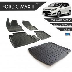 Ford C-MAX 2 3D Havuz Paspas + 3D Bagaj Havuzu 2li Set Siyah 2012 ve Sonrası