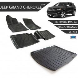Jeep Grand Cherokkee 3D Havuz Paspas + 3D Bagaj Havuzu 2li Set Siyah 2014 ve Sonrası
