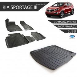 Kia Sportage 3Siyah 3D Havuz Paspas +3D Bagaj Havuzu 2li Set Siyah 2010-2015