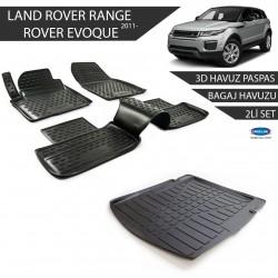 Land Rover/Range Rover Evoque 3D Havuz Paspas + 3D Bagaj Havuzu 2li Set Siyah 2011 ve Sonrası