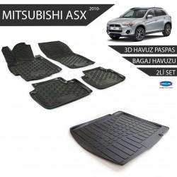 Mitsubishi Asx Siyah 3D Havuz Paspas +3D Bagaj Havuzu 2li Set 2010 ve Sonrası