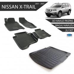 Nissan X-Trail 3D Havuz Paspas +3D Bagaj Havuzu 2li Set Siyah 2001-2007