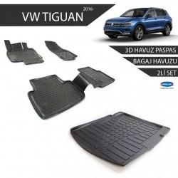 Volkswagen Tiguan 3D Havuz Paspas + 3D Bagaj Havuzu 2li Set Siyah 2016 ve Sonrası
