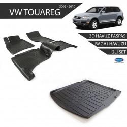 Volkswagen Touareg 3D Havuz Paspas + 3D Bagaj Havuzu 2li Set Siyah 2002-2010