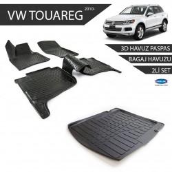 Volkswagen Touareg 3D Havuz Paspas + 3D Bagaj Havuzu 2li Set Siyah 2010 ve Sonrası