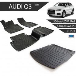 Audi Q5 3D Havuz Paspas + 3D Bagaj Havuzu 2li Set Siyah 2009 ve Sonrası